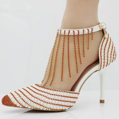 Women's Leatherette Stiletto Heel Closed Toe Pumps With Beading Tassel