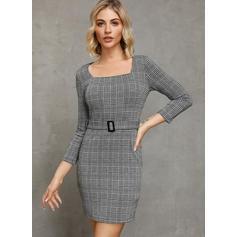 W kratę Długie rękawy Bodycon Nad kolana Casual/Elegancki Sukienki