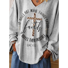 Print Leopard Figure V-Neck Long Sleeves Casual T-shirts