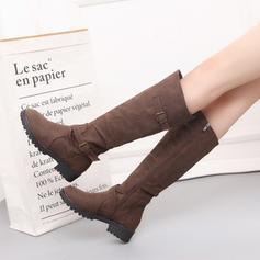 Frauen Kunstleder Flascher Absatz Flache Schuhe Stiefel Kniehocher Stiefel mit Schnalle Schuhe