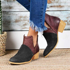 Women's PU Chunky Heel Pumps Closed Toe Boots Ankle Boots With Buckle shoes