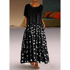 PolkaDot Short Sleeves Shift Maxi Casual Dresses