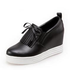 Femmes PU Talon compensé Compensée avec Dentelle Tassel chaussures