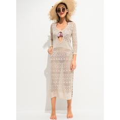 Color Sólido Crochet Escote en V Sexy Pareo Trajes de baño