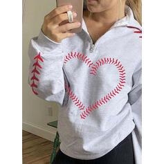 Print Hart Afneembare kraag Lange Mouwen Sweatshirts