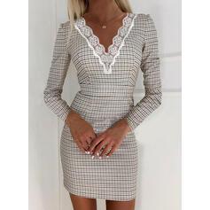 Csipke/Kockás Hosszú ujjú Testre simuló ruhák Térd feletti Elegáns φορέματα