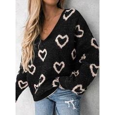 Impresión Corazón Cuello en V Casuales Suéteres