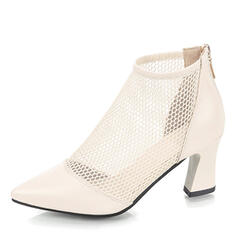 Vrouwen PU Chunky Heel Pumps met Rits Hol-out schoenen