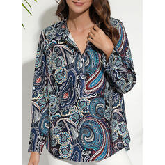 Print V-Neck Long Sleeves Button Up Casual Shirt Blouses