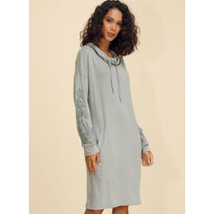 Lace/Solid Long Sleeves Shift Knee Length Casual Sweatshirt Dresses