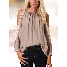 Solid Cold Shoulder Long Sleeves Elegant Blouses