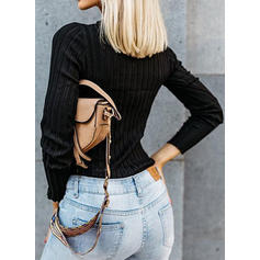 Solid V-neck Long Sleeves Button Up Casual Elegant Sexy Knit Blouses
