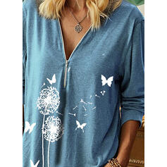 Animal Print Dandelion V-Neck Long Sleeves Casual Blouses