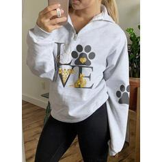 Animal Print Lapel Long Sleeves Sweatshirt