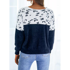 Print Color Block Leopard Lace V-Neck Casual Sweaters