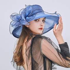 Ladies' Classic/Handmade Cambric/Organza With Bowknot Beach/Sun Hats