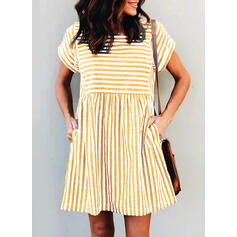 Striped Short Sleeves Shift Above Knee Casual T-shirt Dresses