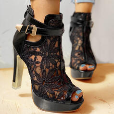 Donna Mesh Tacco a spillo Stiletto Punta aperta con Bowknot Cava-out scarpe