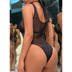 Solid Color U Neck Sexy One-piece Swimsuits
