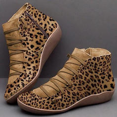 Women's Microfiber Leather Low Heel Boots With Lace-up shoes