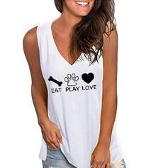 Estampado Decote em V Sem Mangas Casual Camisetas regata