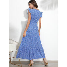 Print/Floral Sleeveless A-line Skater Casual/Elegant Maxi Dresses
