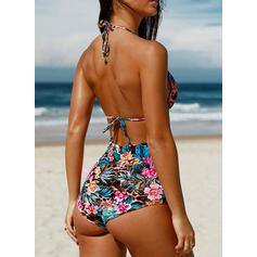 Impressão Tropical Frente-única Sexy Biquínis Maiôs