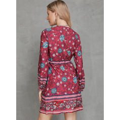 Print Long Sleeves Shift Above Knee Casual/Boho/Vacation Dresses