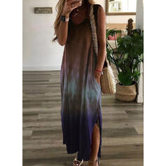 Tie Dye Sleeveless Shift Tank Casual/Vacation Maxi Dresses