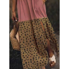 Nadrukowana/Wyszczuplająca Bez rękawów W kształcie litery A Casual/Wakacyjna Maxi Sukienki