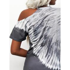 Tie Dye One Shoulder Short Sleeves Dropped Shoulder Casual Blouses