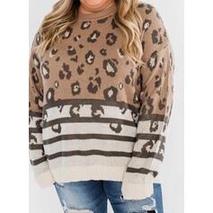 raya Leopardo Cuello Redondo Casual Suéteres