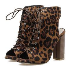 Mulheres PU Salto robusto Sandálias Bombas Peep toe com Animal da Cópia Aplicação de renda sapatos