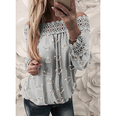 Print Lace Heart Off the Shoulder Long Sleeves Casual Blouses