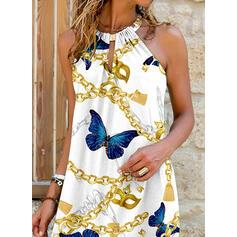 Imprimeu/Hayvan Kolsuz Shift Elbiseleri Deasupra Genunchiului gündelik Elbiseler