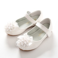 Girl's Leatherette Flat Heel Round Toe Closed Toe Flats With Beading Bowknot Velcro Flower