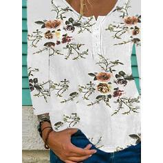Blomstrete Trykk Rund hals Lange ermer T-skjorter
