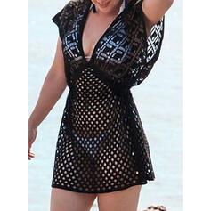 Solid Color Mesh V-Neck Elegant Exquisite Cover-ups Swimsuits