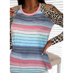 Leopard Print Striped Cold Shoulder Long Sleeves T-shirts