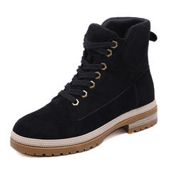 Women's Suede Chunky Heel Platform Boots Snow Boots Martin Boots With Lace-up shoes