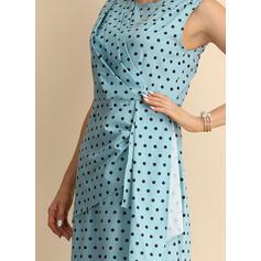 PolkaDot Sleeveless Sheath Midi Party Dresses