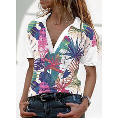 Print Lapel Short Sleeves T-shirts