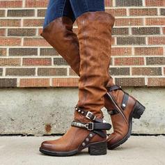 Frauen PU Stämmiger Absatz Stiefel Kniehocher Stiefel mit Schnalle Schuhe