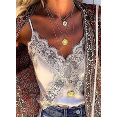 Solid Lace Spaghetti Strap Sleeveless Sexy Tank Tops