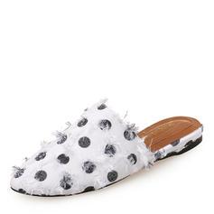 Frauen Baumwollstoff Flascher Absatz Flache Schuhe Geschlossene Zehe Slingpumps Pantoffel Schuhe