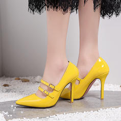 Women's Patent Leather Stiletto Heel Pumps Closed Toe With Buckle Lace-up shoes