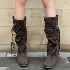 Femmes Suède Talon bas Bottes hautes avec Dentelle Tassel chaussures