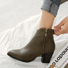 Femmes PU Talon bottier Escarpins Bottes avec Zip chaussures