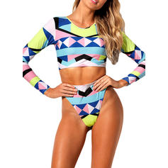 High Waist Long Sleeve Tropical Print Strapless Strap Sexy Bikinis Swimsuits