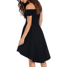 Solid Short Sleeves A-line Asymmetrical Little Black/Casual/Party Dresses